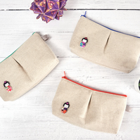 Geisha Girl Storage Pouch, Japanese Linen and Koi Carp Makeup Bag