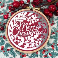 Merry Christmas Calligraphy Decoration, Metallic Silver and Red
