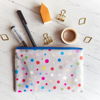 Fabric Zipper Pouch, Geometric Confetti, Cute Multi Purpose Pouch