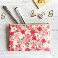 Floral Zipper Pouch, Rose Makeup Pouch for Purse, Gifts for Her