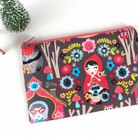 Cute Zip Pouch Wallet, Little Red Riding Hood, Gifts for Girls