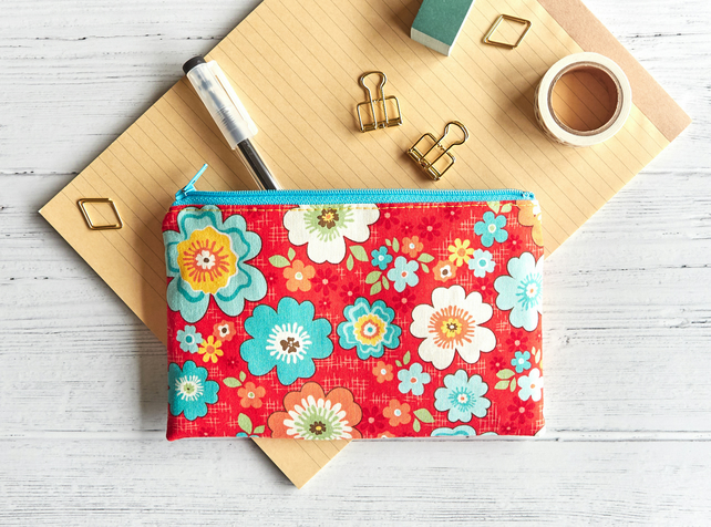 Tropical Flower Flat Zipper Pouch, Period Pouch, Small Zip Wallet