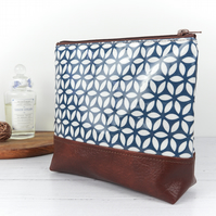 Blue Geometric Makeup Bag, Oilcloth Pouch, Vegan Leather Bag