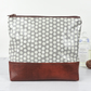 Polka Dot Grey Oilcloth Pouch, Vegan Faux Leather Makeup Bag