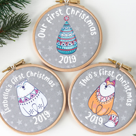 Personalised Animal Christmas Decorations, Babys First Christmas