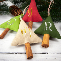 Personalised Letter Christmas Tree Decorations, Rustic Natural Cinnamon