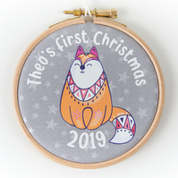 Personalised Baby's First Christmas Decoration, Fox Christmas Hoop Ornament 2019