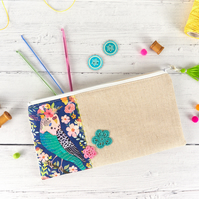 Floral Bird Pouch, Flat Pencil Case with Tassel, Budgie