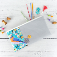 Bohemian Bird Zip Pouch, Floral Bluebird Pencil Case