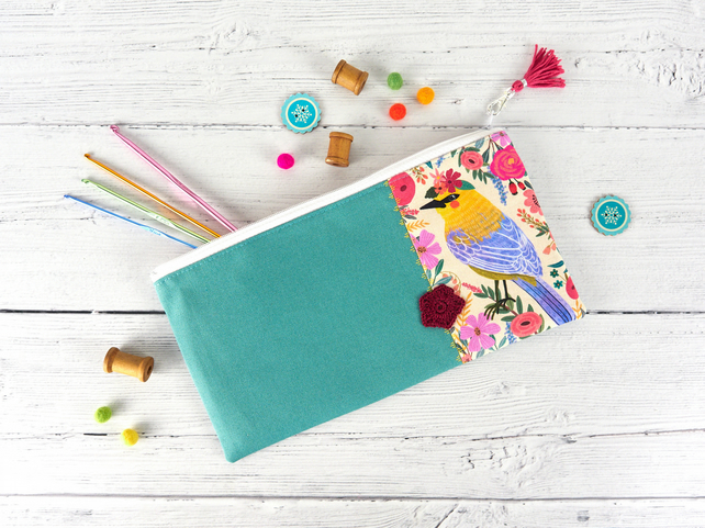 Floral Bird Makeup Bag, Accessory Pouch, Bird Lover Gift