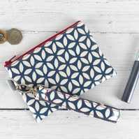 Oilcloth Wallet with Removable Wristlet Strap, Blue Geometric Coin Purse