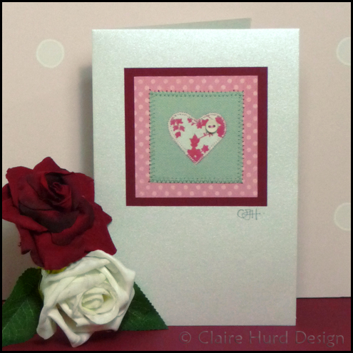Handmade Appliquéd Heart Card