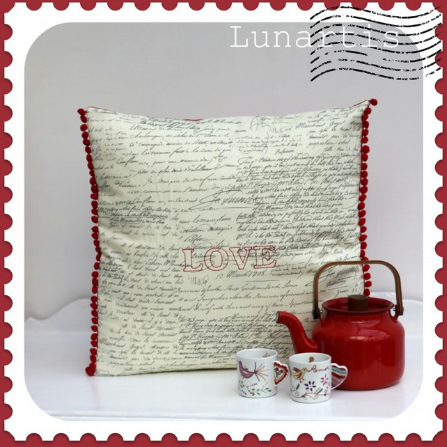 Valentine LOVE letter cushion cover old script words embroidered red pompom