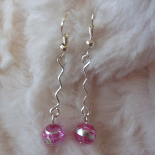 Pink drizzle bead drop earrings