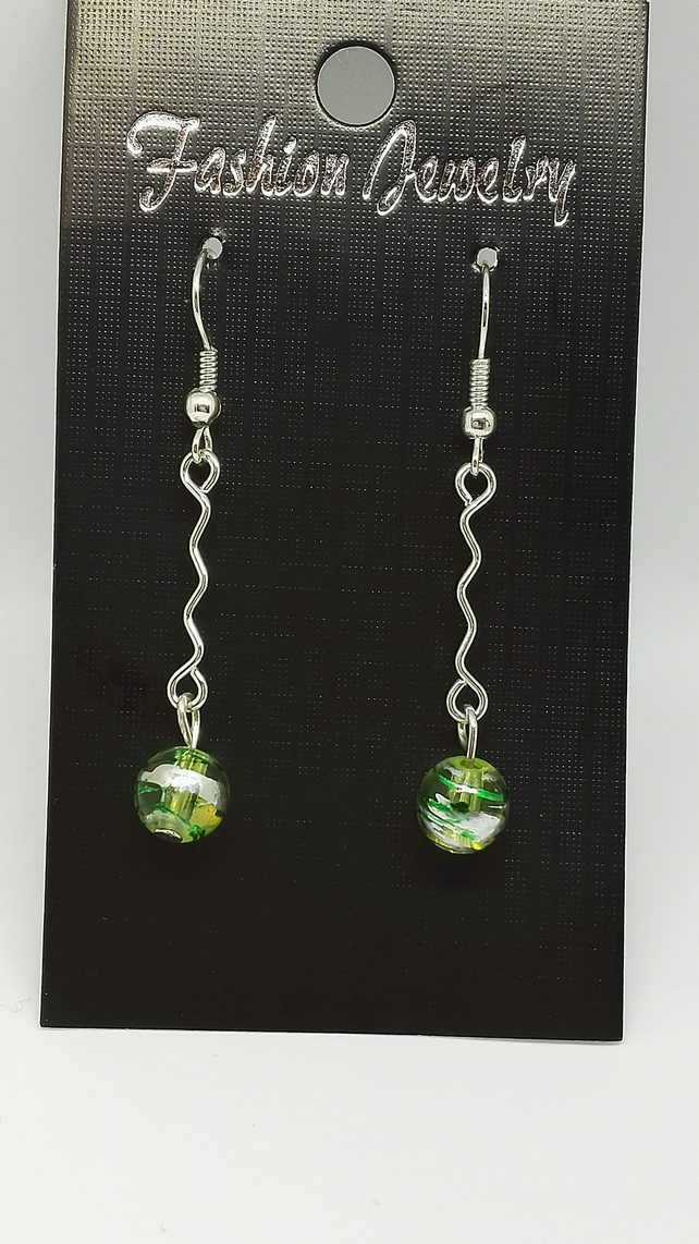 Green Drizzle bead drop earrings