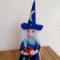 Ooak Wizard,Troll Doll,Sorcerer,Magician,Fantasy,Magic,Merlin,Hocus Pocus