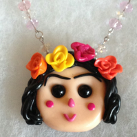 Ooak Polymer Clay Pendant,Handmade Necklace,Frida Kahlo,Little Girl,Mexican Girl