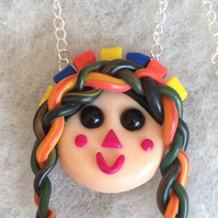 Handmade Necklace,Maria Rag Doll,Polymer Clay,Quirky,Ooak Pendant,Kids Jewellery