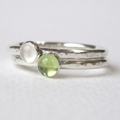 Peridot and Moonstone Stacking Rings Duo