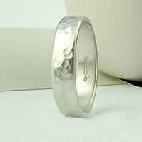 Sterling Silver Wedding Ring - 5mm - Forged - Matte