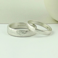 Sterling Silver Wedding Ring - 3mm - Forged - Matte