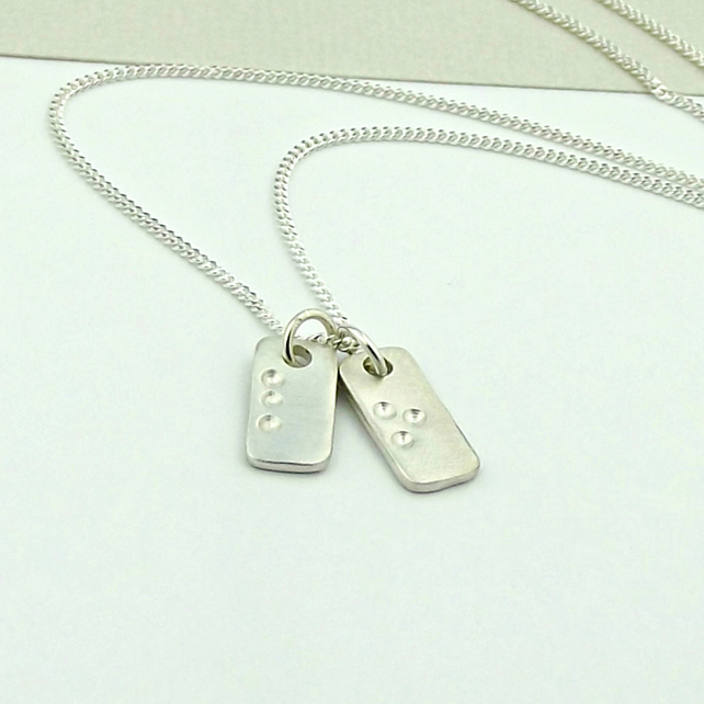 Secret Message Silver Necklace - Braille Inspired