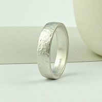 Sterling Silver Wedding Ring - Matte Finish - Terra Texture