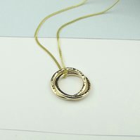 Solid 18ct Gold Eternity Necklace - Textured Finish