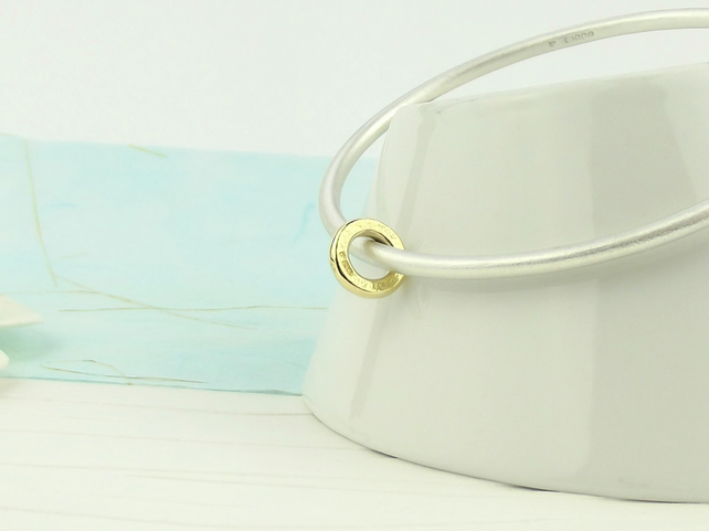 Sterling Silver and 9ct Gold Bangle