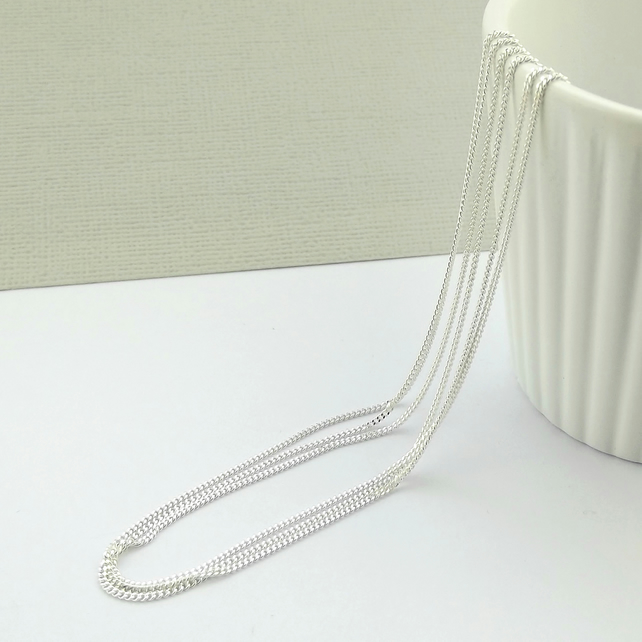 Sterling Silver Diamond Cut Curb Necklace Chain