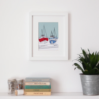 Fishing Boats - Embroidered Framed Art