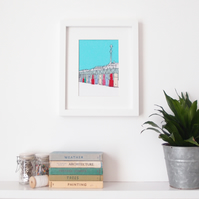 Beach Huts - Embroidered Framed Art