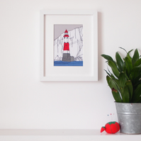 Beachy Head Lighthouse - Embroidered Framed Art