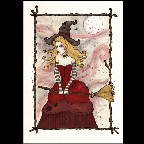 Scarlet Wychcraft Witch Halloween Greeting card