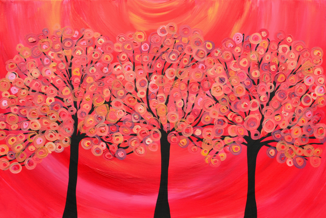 A4 Giclee Print - Red Tree Painting