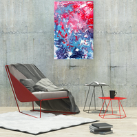 Red & Blue Abstract Acrylic Painting on Canvas - 'Get Fresh' - by Louise Mead