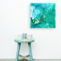 All at Sea - Green and Turquoise Square Abstract Painting by Louise Mead