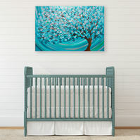 Teal Tree Painting