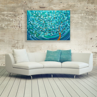 Winter Morning Tree - Teal & Turquoise Abstract Tree Painting