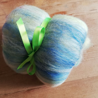 Carded Batt Merino, Milk Fibre and Sari Silk 48 Grams, Spinning Fibre