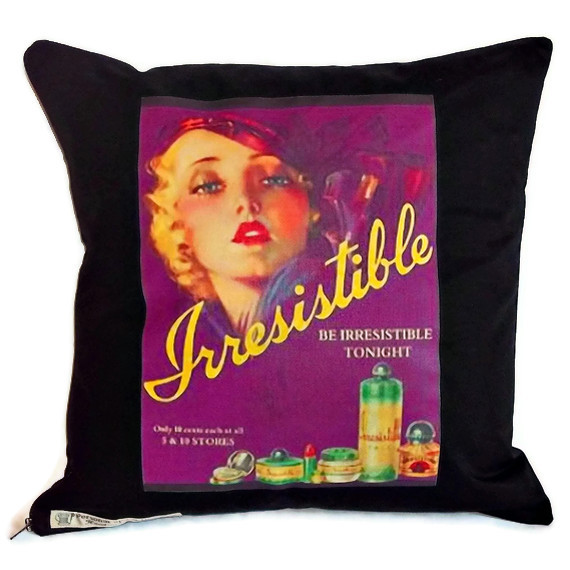 Retro transfer print cushion cover featuring Irresistible perfume poster