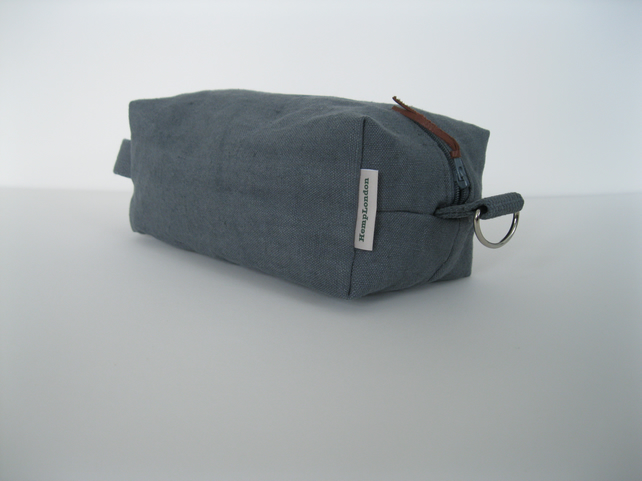 Hemp, Men's shaving, toiletries, kit bag, pouch, grey canvas, eco-friendly