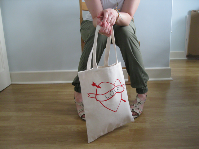 Personalised, bag, screen print heart embroidered