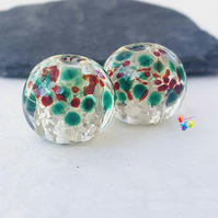 Sparkling Silver Christmas Holly Globe Pair, Lampwork Beads