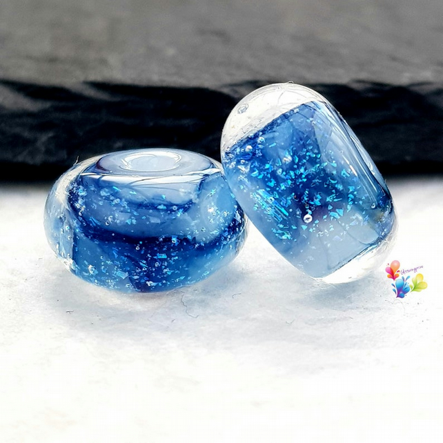 Blue Thunder Dichroic Watercolour Lampwork Beads - MTO
