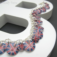 Celebration Daze button bracelet Union Jack