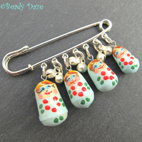 Babushka  Russian Doll charm kilt pin brooch