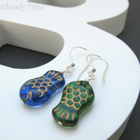 Czech fish beads and sterling silver earrings