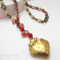 Sale! Strawberry brass locket and beaded chain