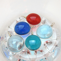 5 Glass Pebble Pendants